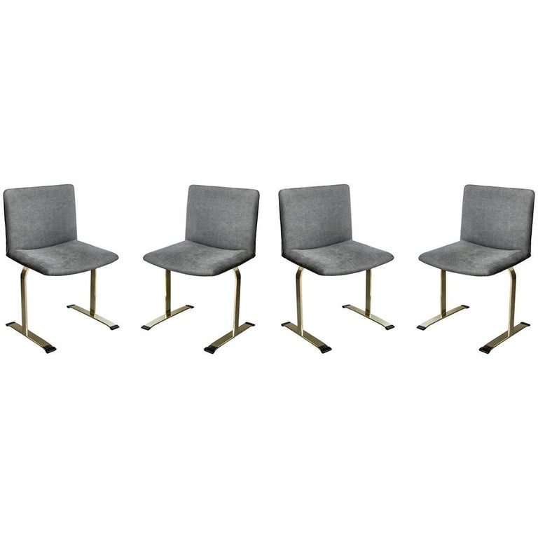 Saporiti Brass Set of Four Dining Chairs