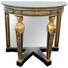 French Empire Style Marble-Top Console Table