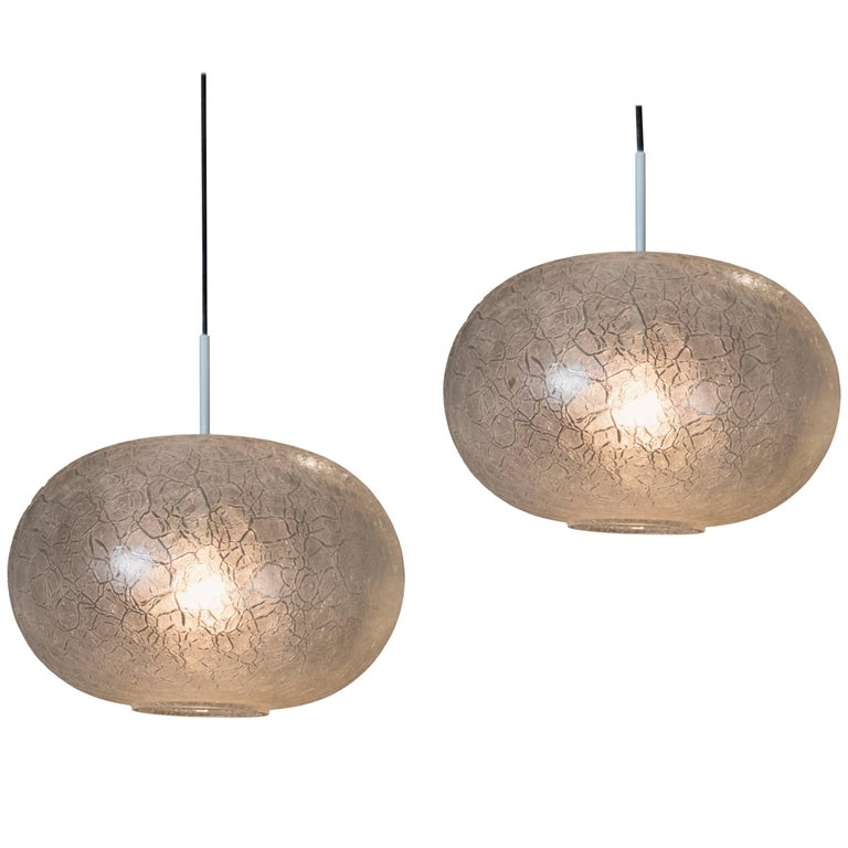 Large Pair of Doria Frosted Crackled Glass Elliptical Pendant Lights For Sale