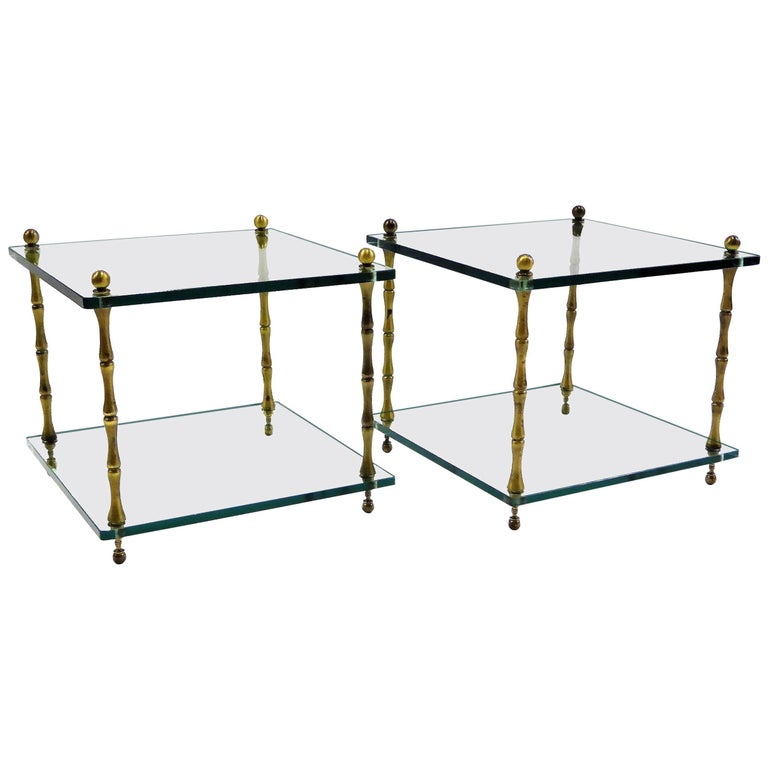 1960s Brass and Glass Faux Bamboo Occasional Side Tables For Sale