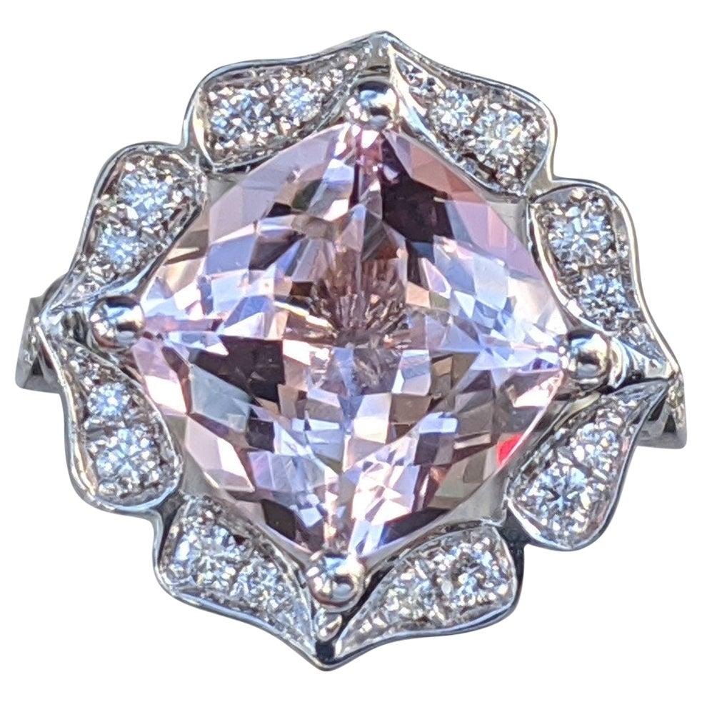 4 Carat Cushion Morganite 14 Karat White Gold Engagement Ring