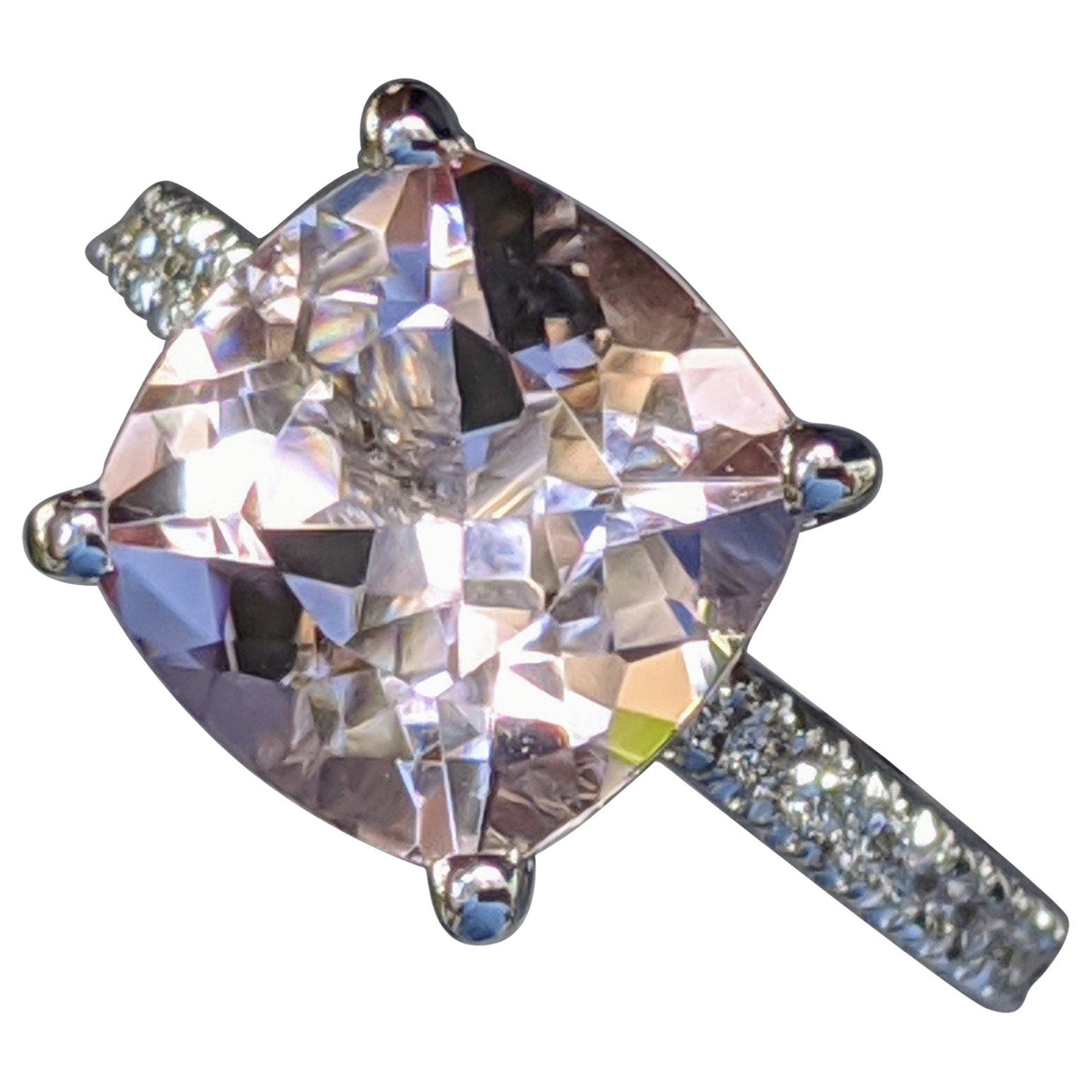 3 1/2 Carat 14 Karat White Gold Cushion Morganite Hidden Halo Engagement Ring