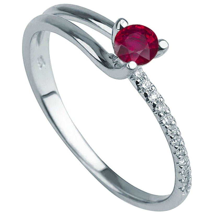 0.3 Carat 14 Karat White Gold Round Ruby Delicate Engagement Ring