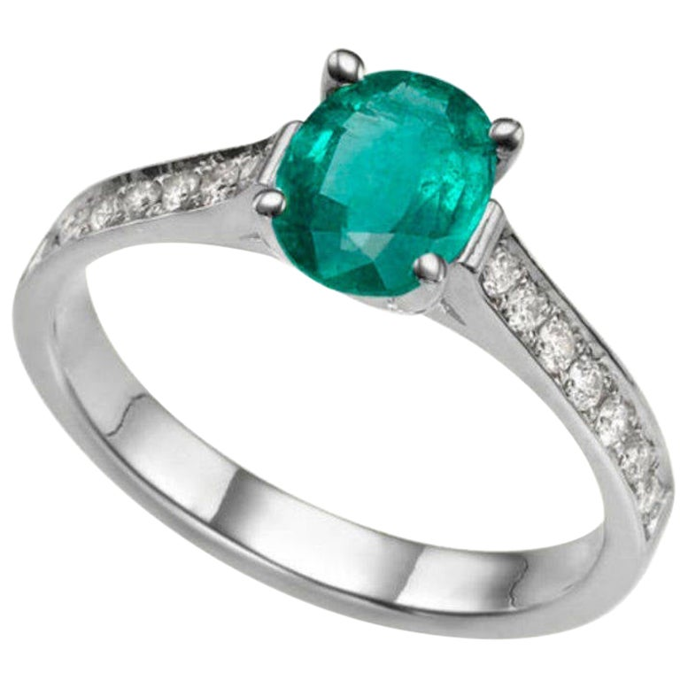 3/4 Carat 14 Karat White Gold Oval Emerald Engagement Ring
