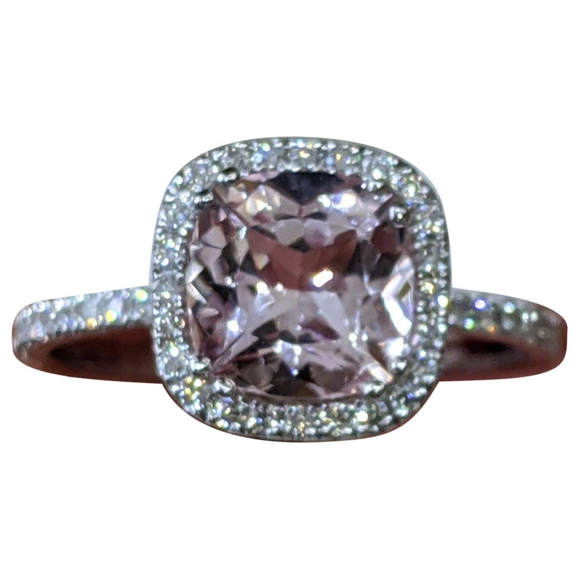 2 Carat 14 Karat White Gold Cushion Morganite Vintage Engagement Ring