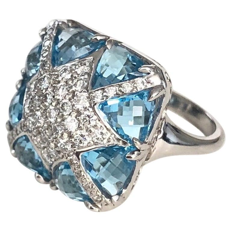 Blue Topaz and Diamond Designer Ring