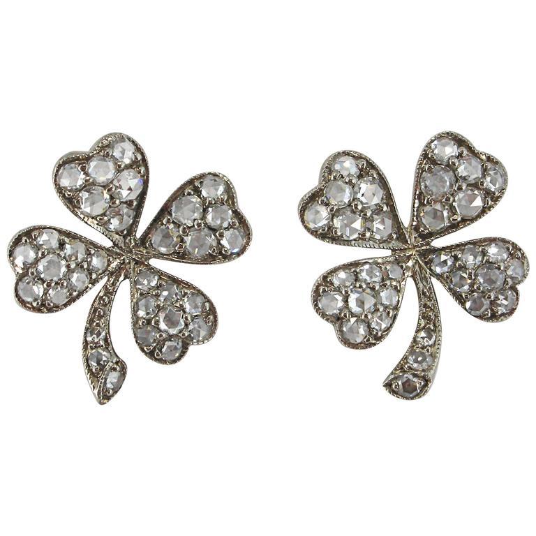 Jona White Diamond 18 Karat White Gold Four-Leaf Clover Stud Earrings