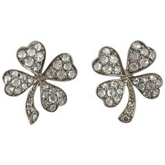Jona White Diamond 18 Karat White Gold Four-Leaf Clover Stud Earrings