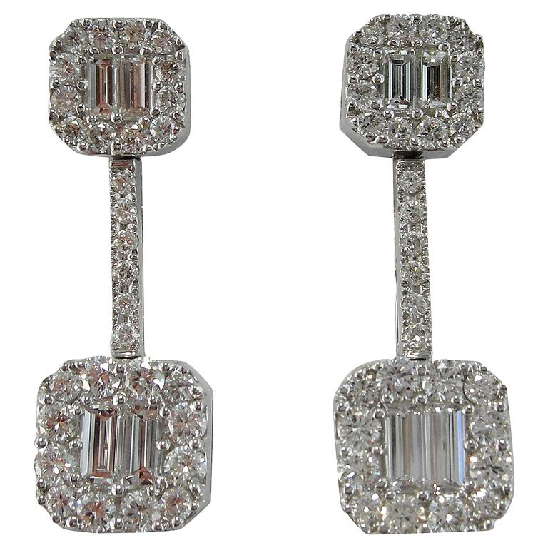 Jona Diamond 18K White Gold Dangle Earrings