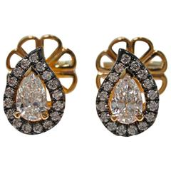Jona White Diamond Paisley 18 Karat Rose Gold Halo Stud Earrings