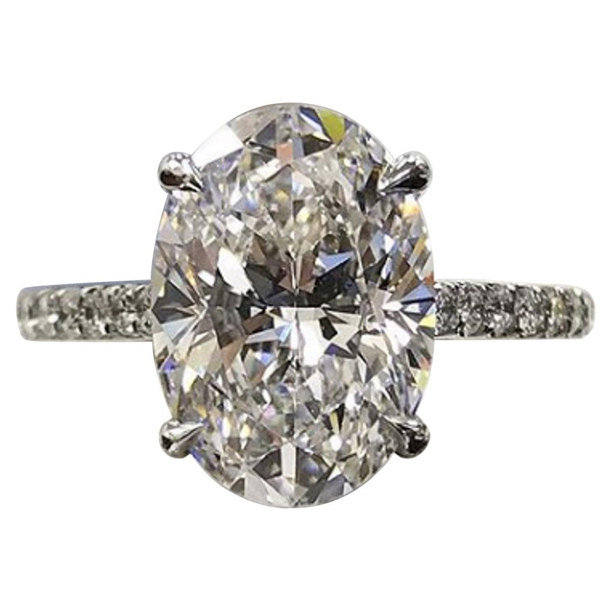 HRD Antwerp Certified 2.25 Carat G Oval Cut Diamond Eye Clean Engagement Ring