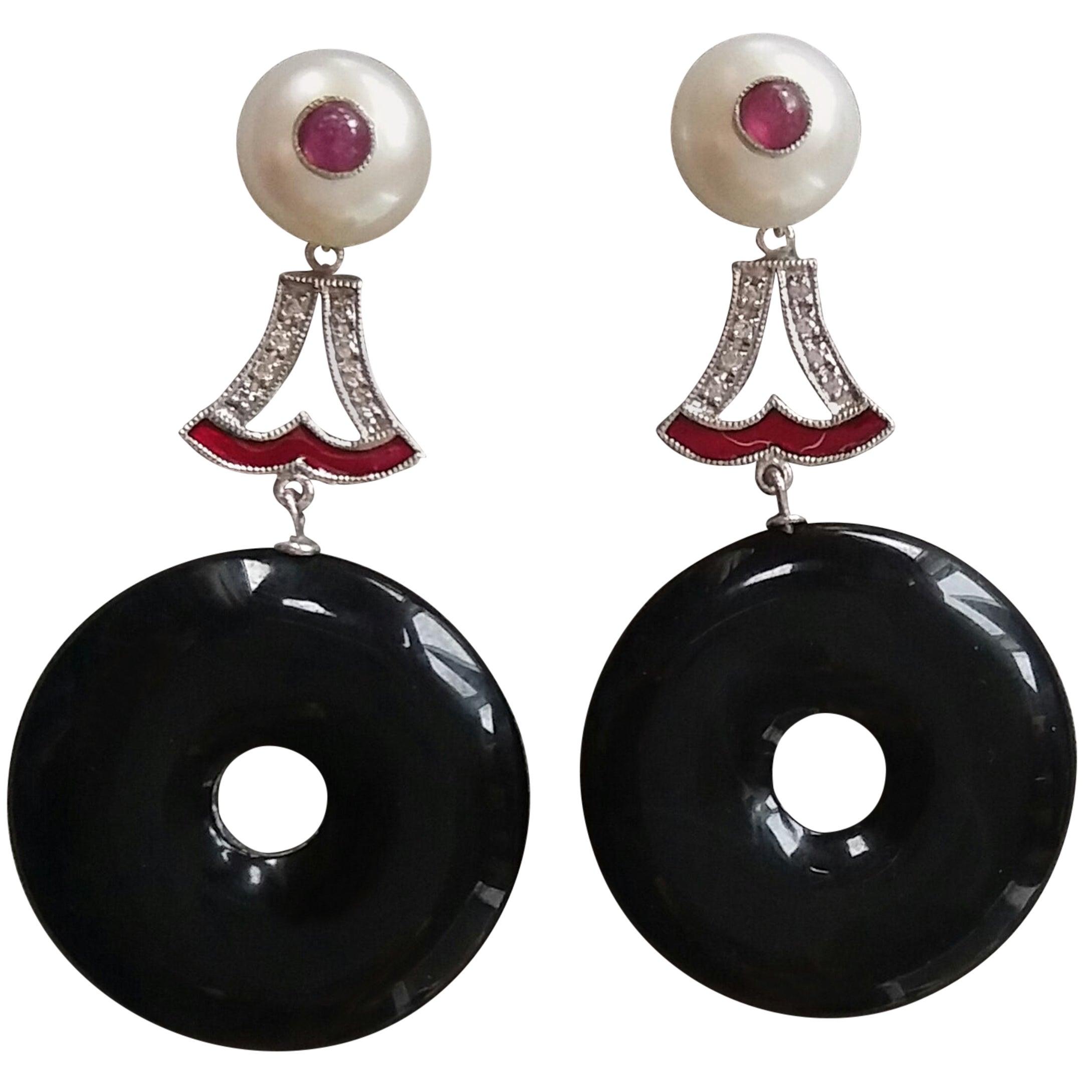 Art Deco Style Black Onyx Pearl Ruby Gold Enamel Diamonds Dangling Earrings