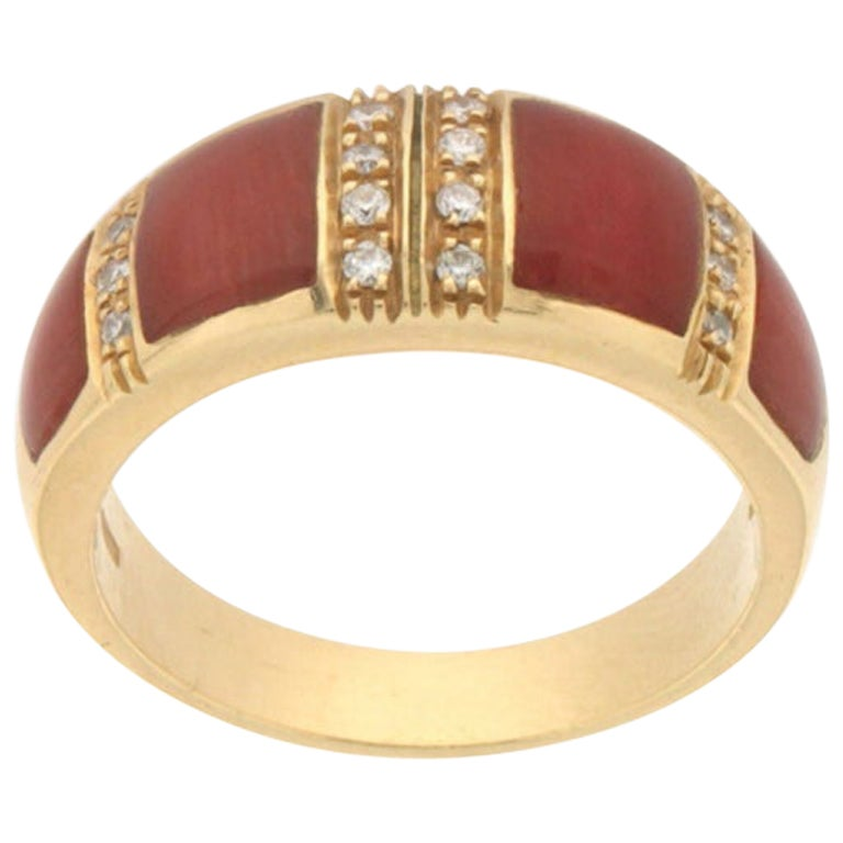 Handcraft Coral 18 Karat Yellow Gold Diamonds Band Ring
