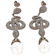 Baroque Pearl Diamond Oxidized Sterling Silver Snake Dangle Earrings