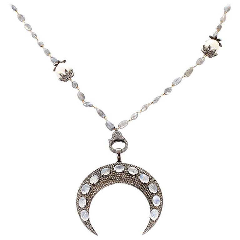 Moonstone Labradorite Pearl Diamond Sterling Silver Crescent Necklace
