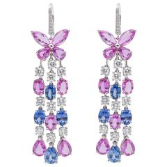 Graff Sapphire Diamond Gold Chandelier Earrings