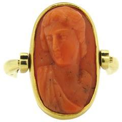 Bulgari Antique Carved Coral Cameo Gold Flip Ring