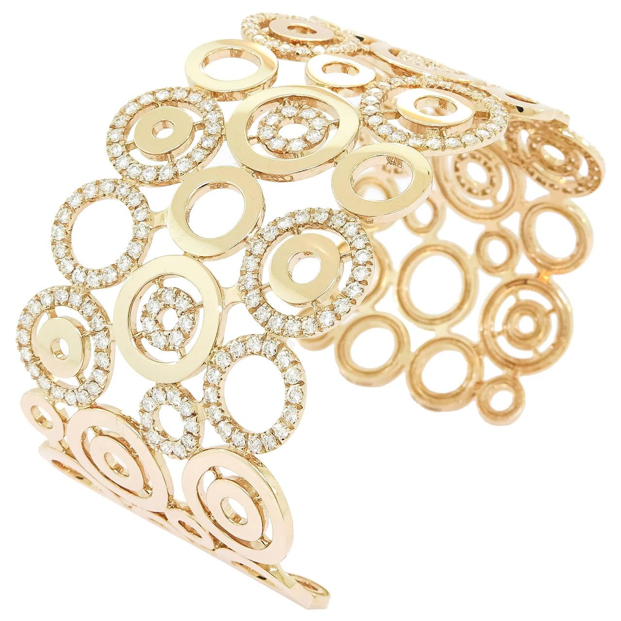 Circles Design Diamond 18 Karat Rose Gold Wide Open Cuff Bracelet