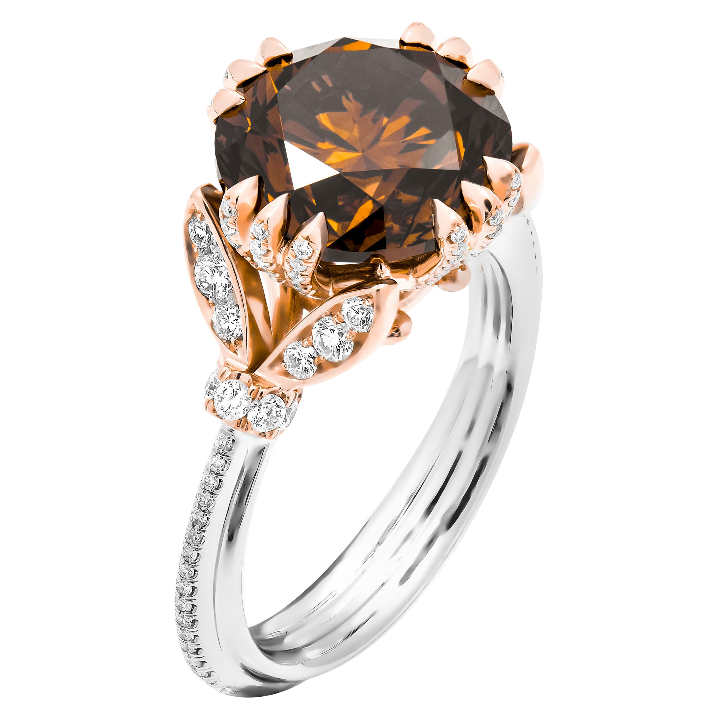 GIA Certified Fancy Orange Brown Diamond Cocktail Ring