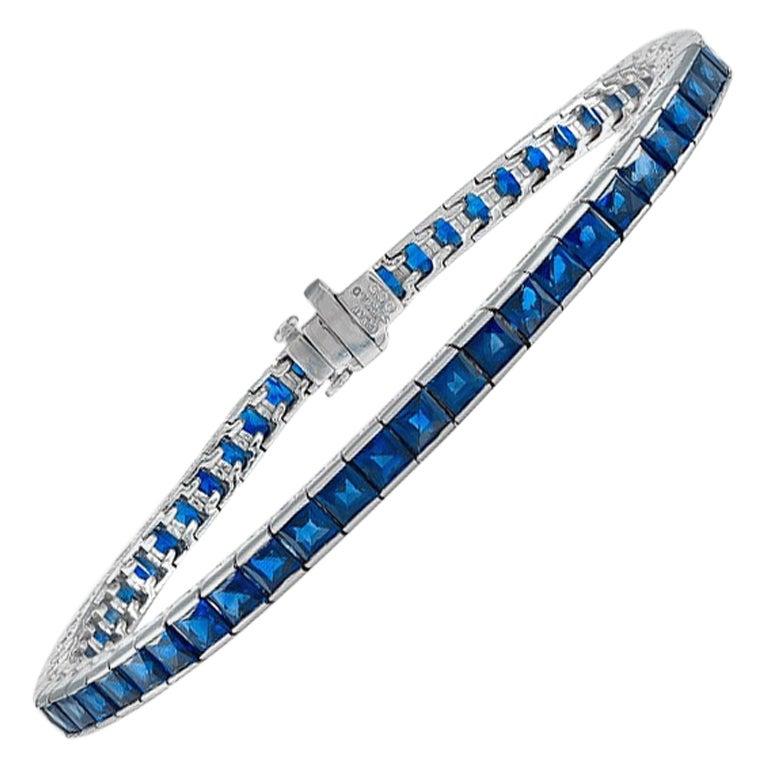 Gorgeous Platinum 8.32 Carat Sapphire Bracelet