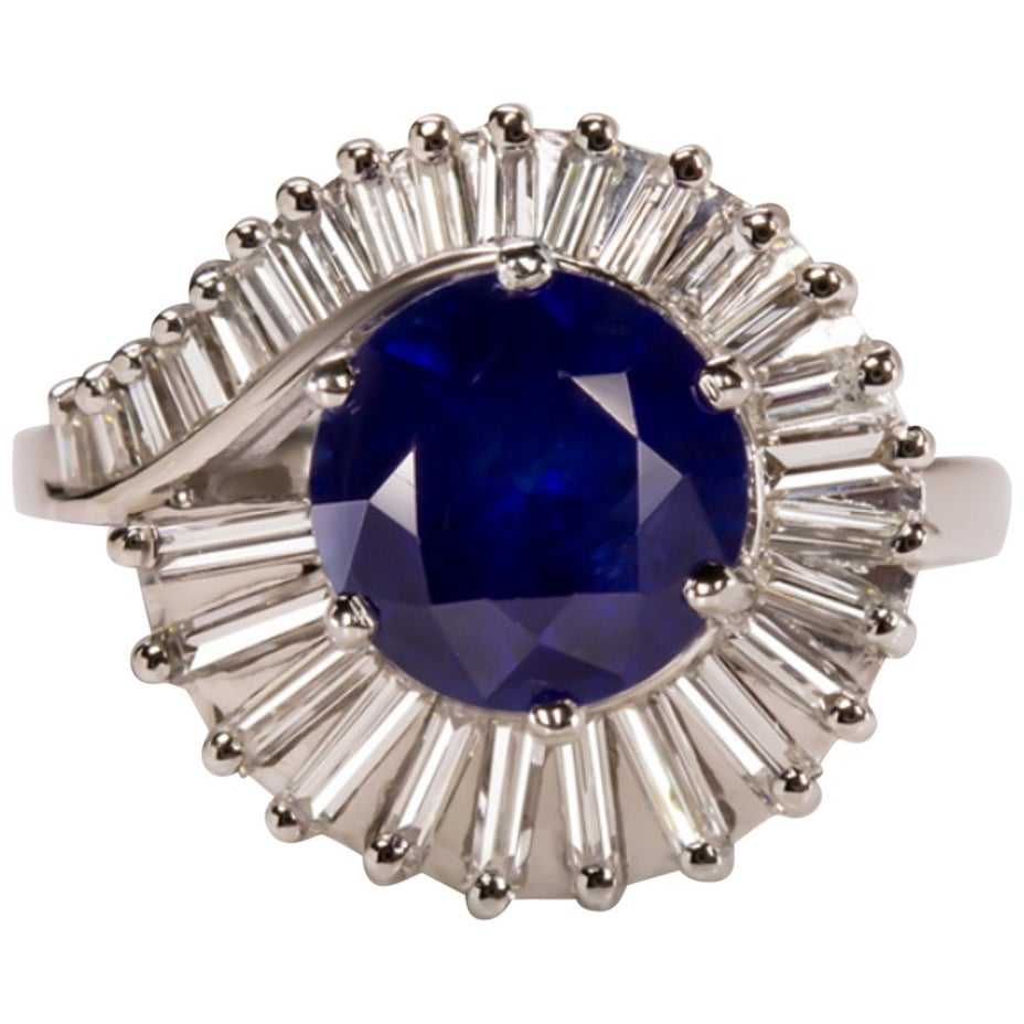 Royal Blue Sapphire G-H VS Diamond Cocktail Ring Platinum