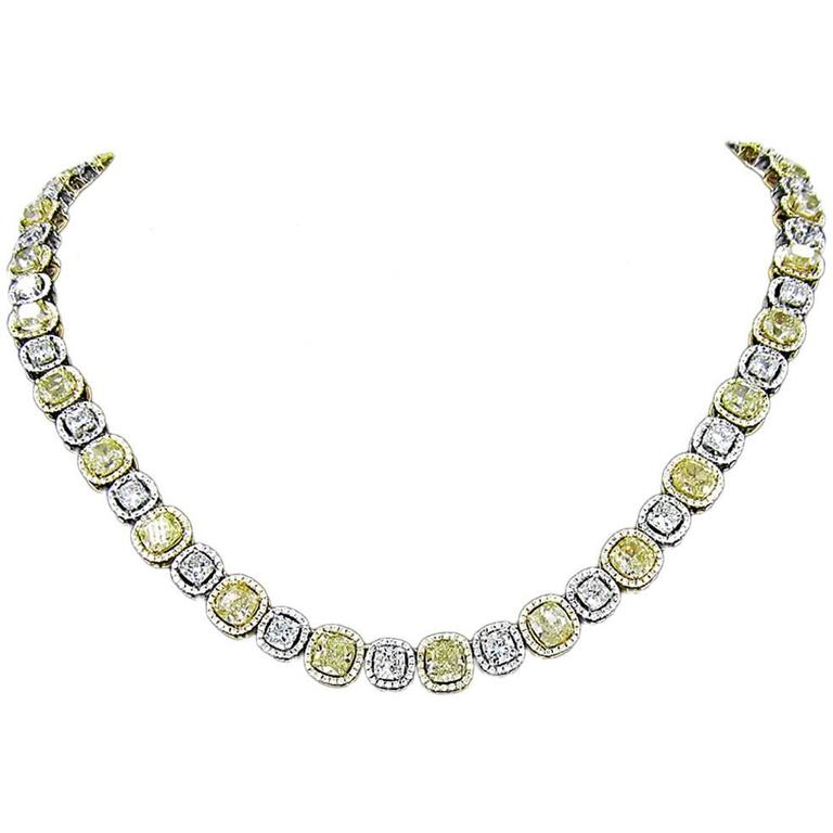 Diamond and Fancy Yellow Diamond Link Necklace