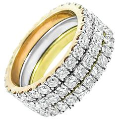 Tricolor 3 Ring Stackable Eternity Bands