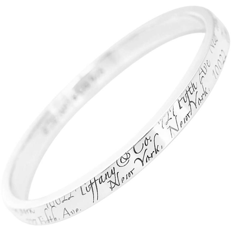 Notes Sterling Silver Bangle Bracelet For