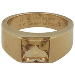Gents 18 Karat Yellow Gold Cartier Citrine Ring