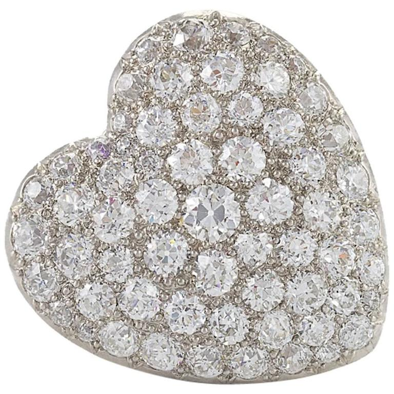 Antique diamond gold and silver pendant heart brooch at for The triumph of love jewelry 1530 1930
