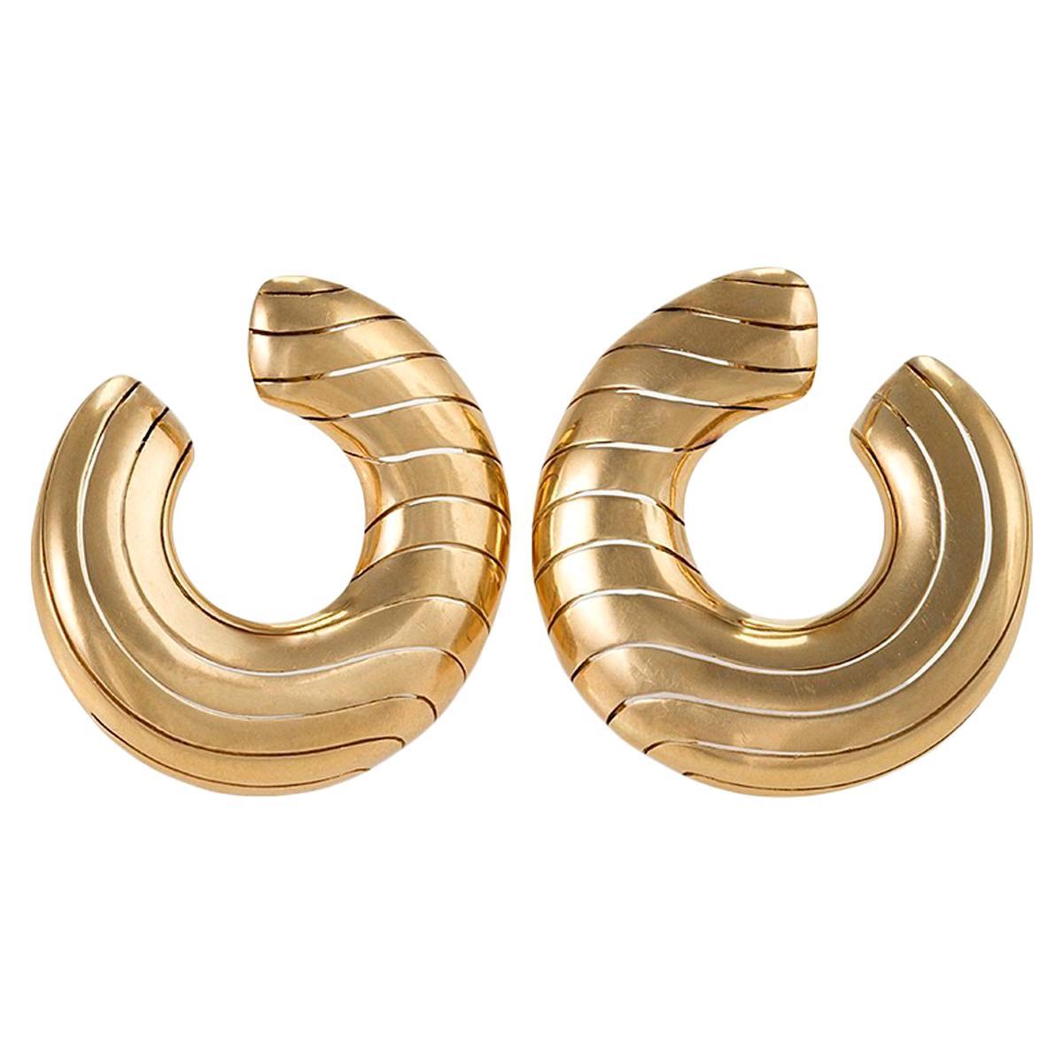 Cartier Paris 1980s Gold Hoop Earrings