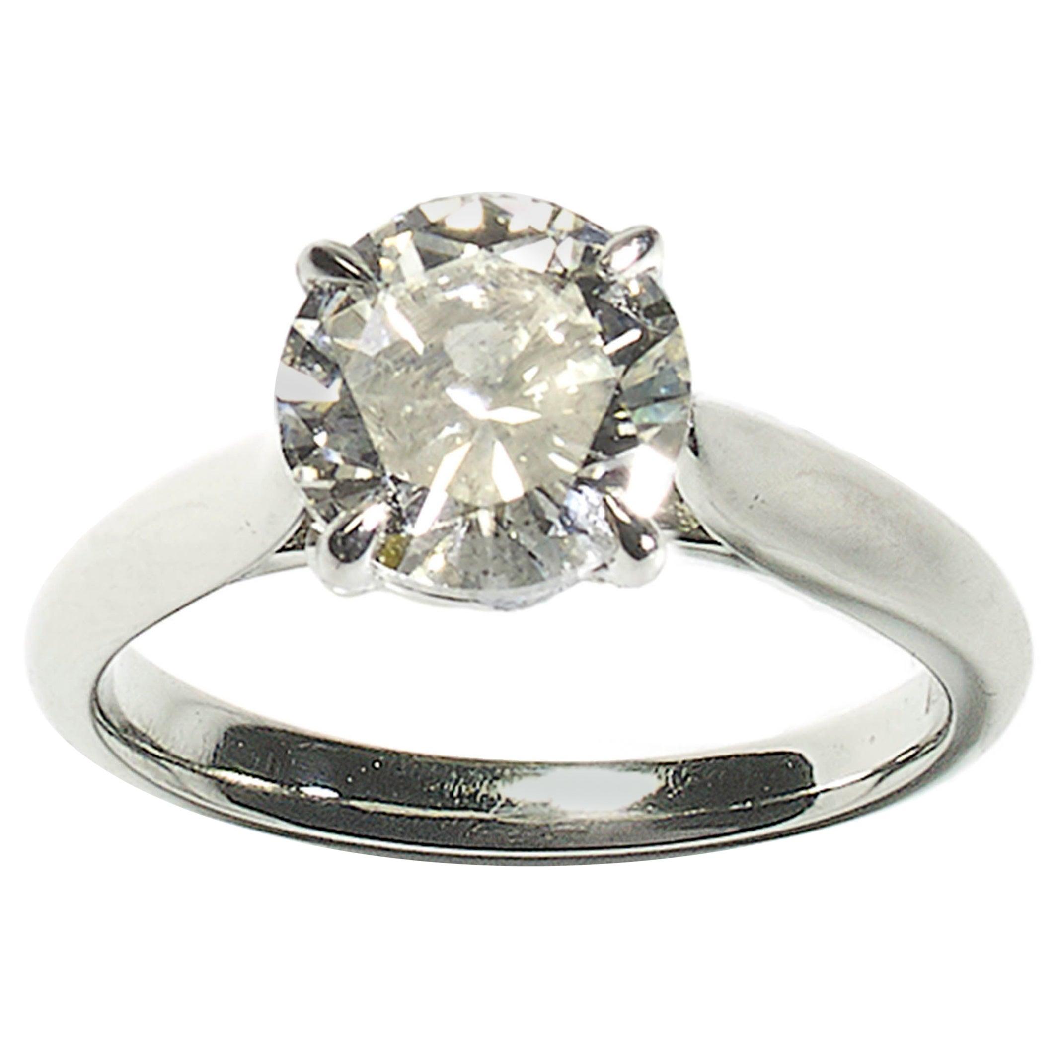 Solitaire Brilliant Cut Diamond and Platinum Ring 2.00 Carat