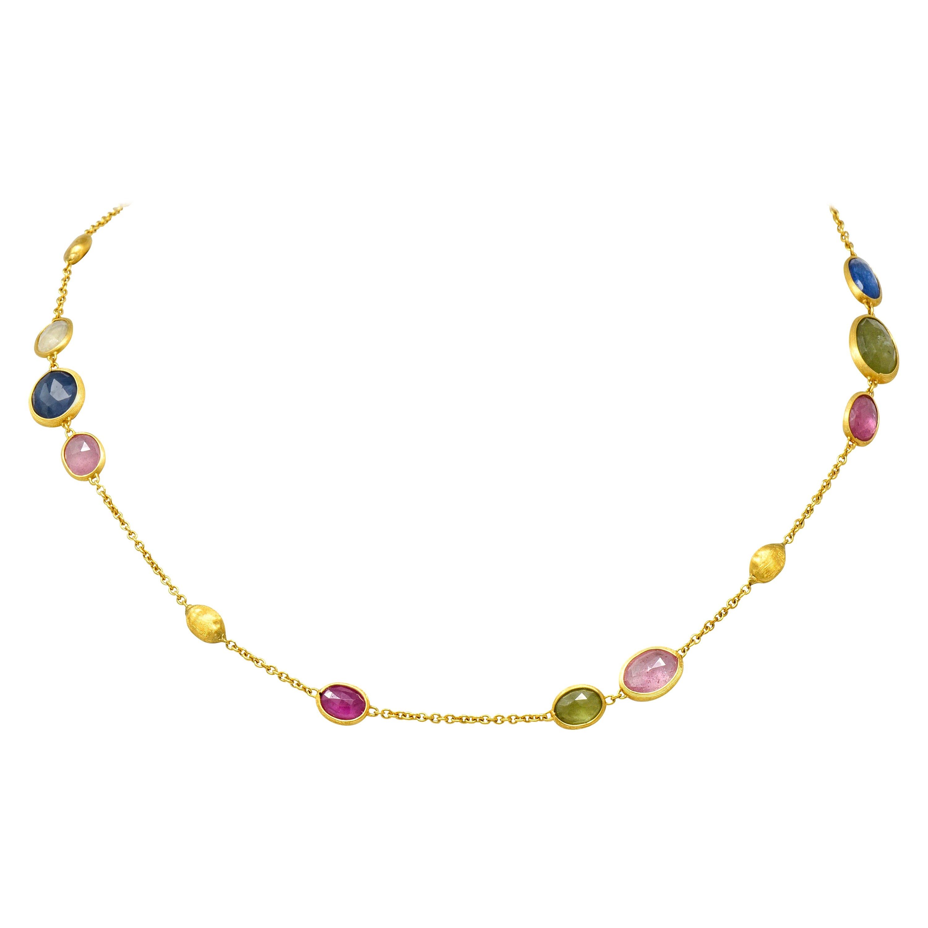 Marco Bicego Sapphire 18 Karat Yellow Gold Confetti Necklace