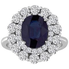 Certified No Heat 3.22 Carat Blue Oval Sapphire and Diamond Ring