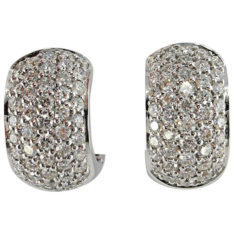 Jona White Diamond Pavé 18 Karat White Gold Hoop Earrings For Sale