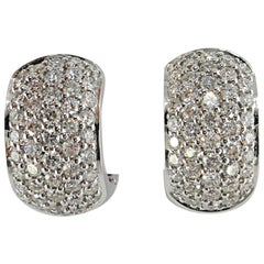 Jona White Diamond Pavé 18 Karat White Gold Hoop Earrings