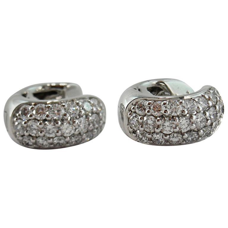 Jona White Diamond Pavé 18k Wite Gold Small Hoop Earrings