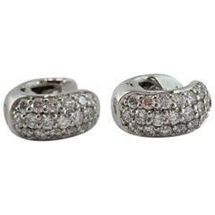 Jona White Diamond Pavé 18 Karat White Gold Small Hoop Earrings