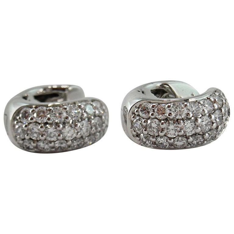 Jona White Diamond Pavé 18 Karat White Gold Small Hoop Earrings For Sale