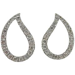 Jona White Diamond 18 Karat White Gold Paisley Stud Earrings