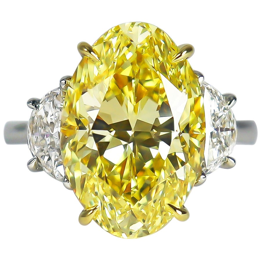 J. Birnbach GIA Certified 8.01 Carat Fancy Intense Yellow Oval Diamond Ring