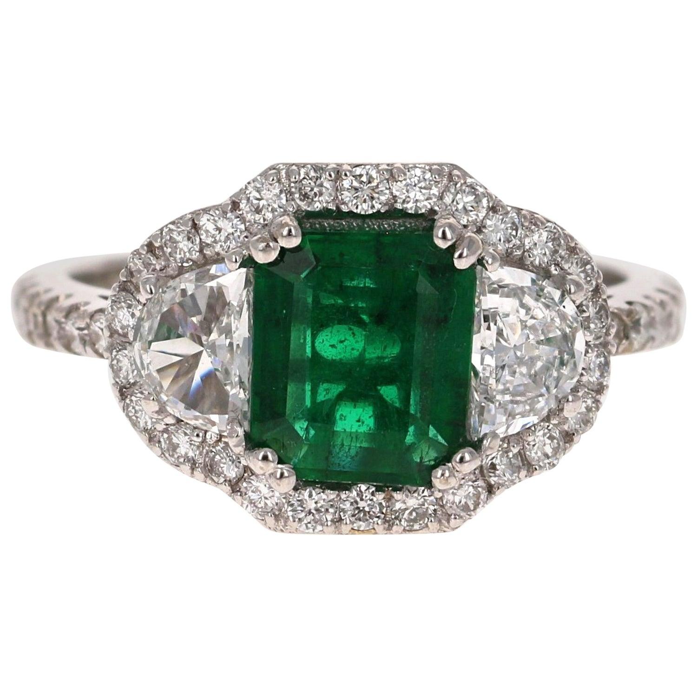 2.42 Carat Emerald Diamond 18 Karat White Gold Three-Stone GIA Certified Ring