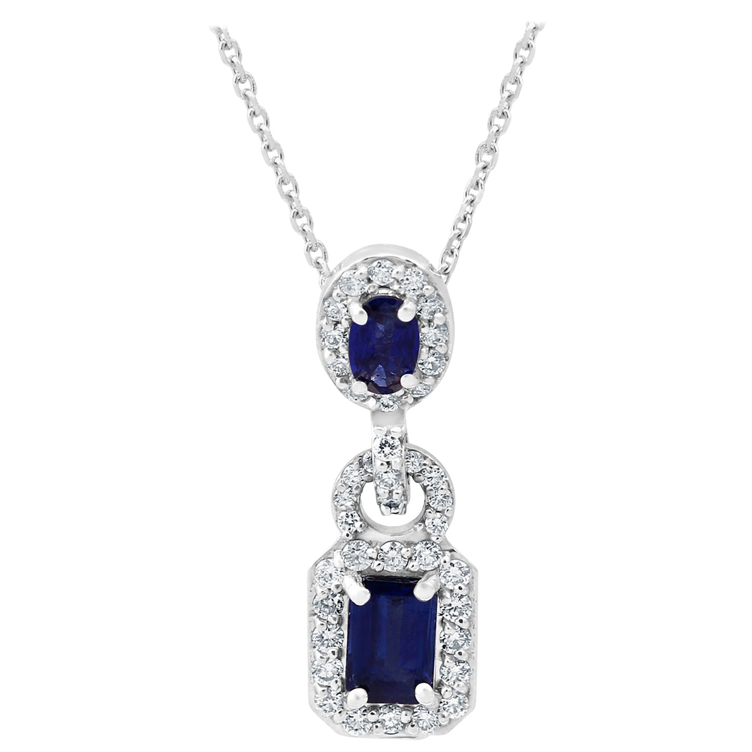 Blue Sapphire Emerald Cut White Diamond Halo Gold Drop Pendant Chain Necklace
