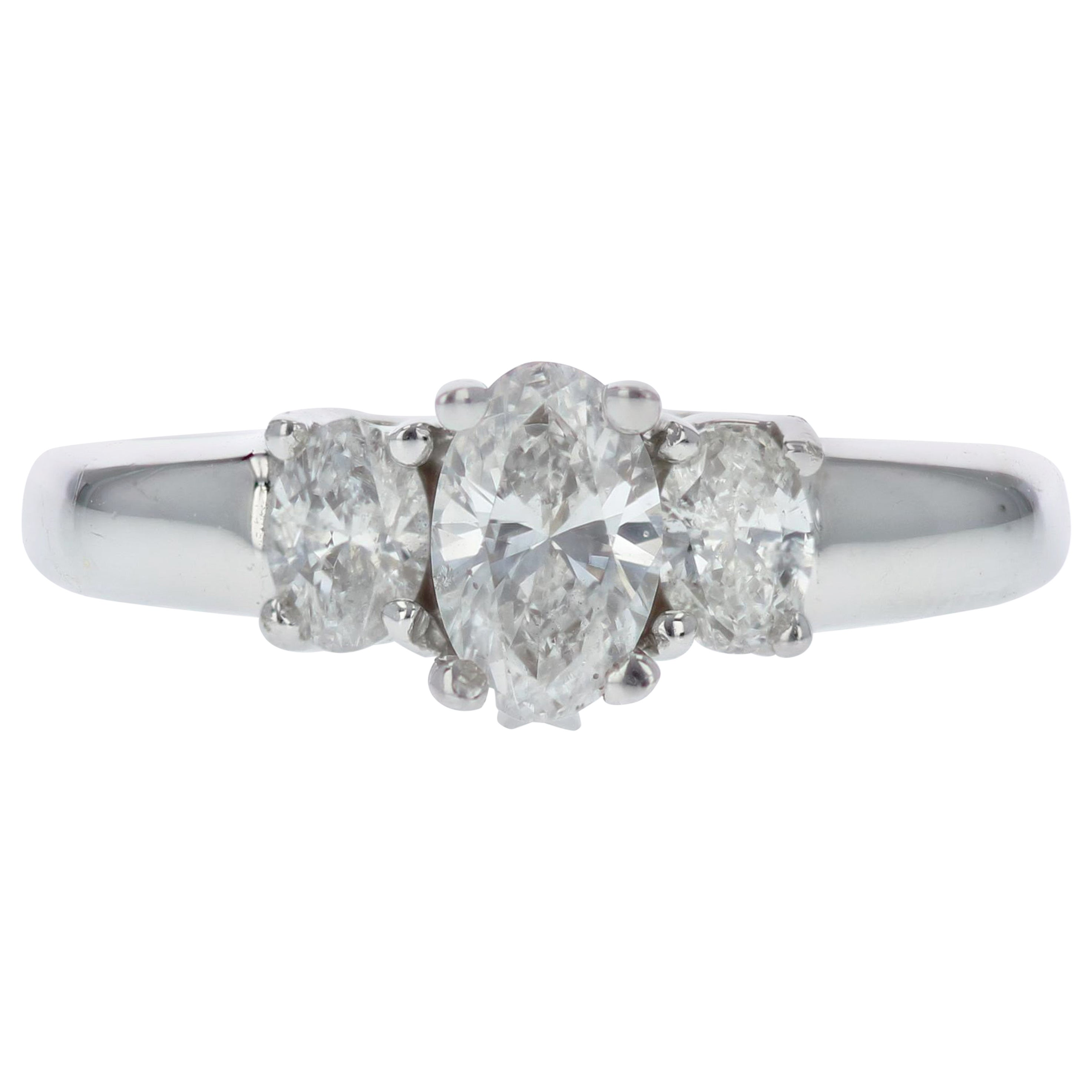 Oval Diamond Three-Stone Engagement Ring in White Gold
