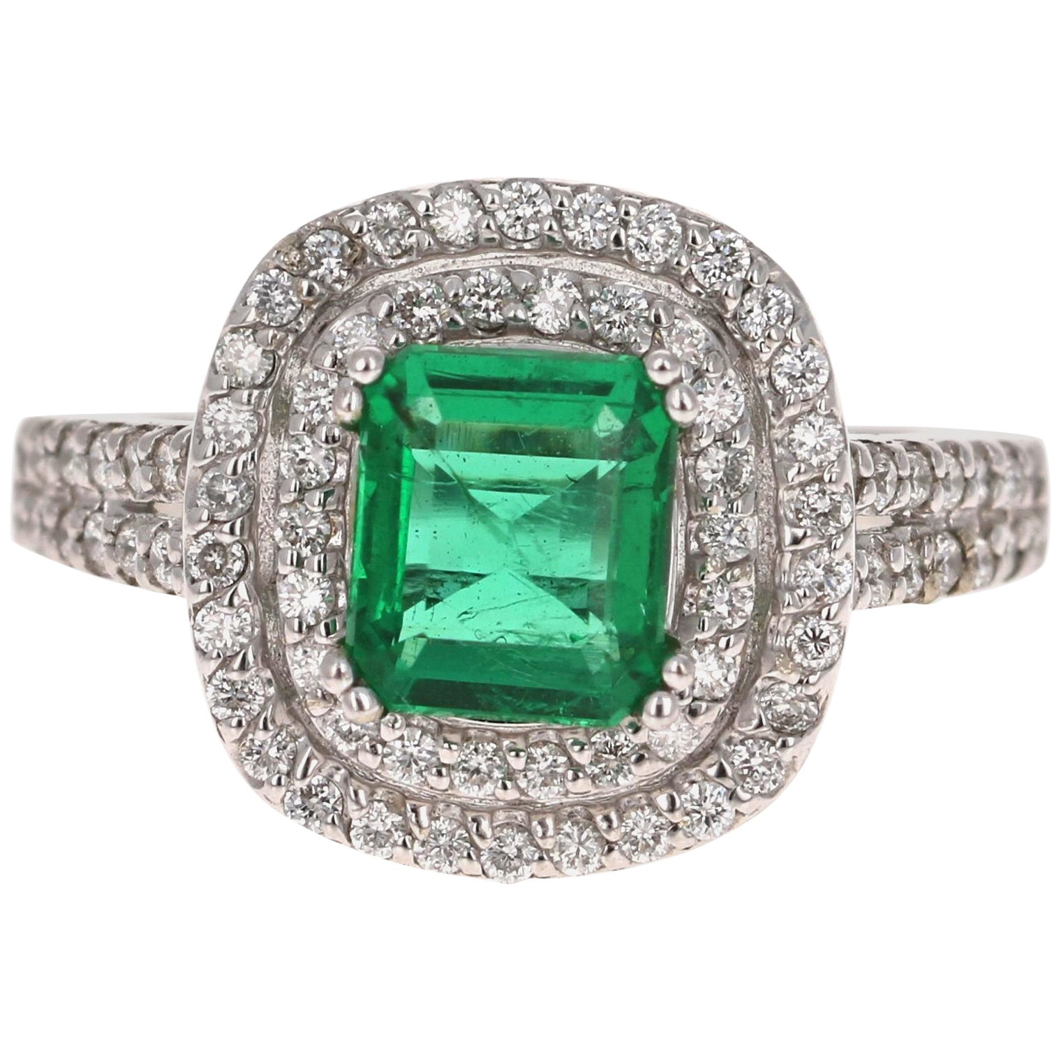 1.96 Carat Emerald Diamond 14 Karat White Gold GIA Certified Ring