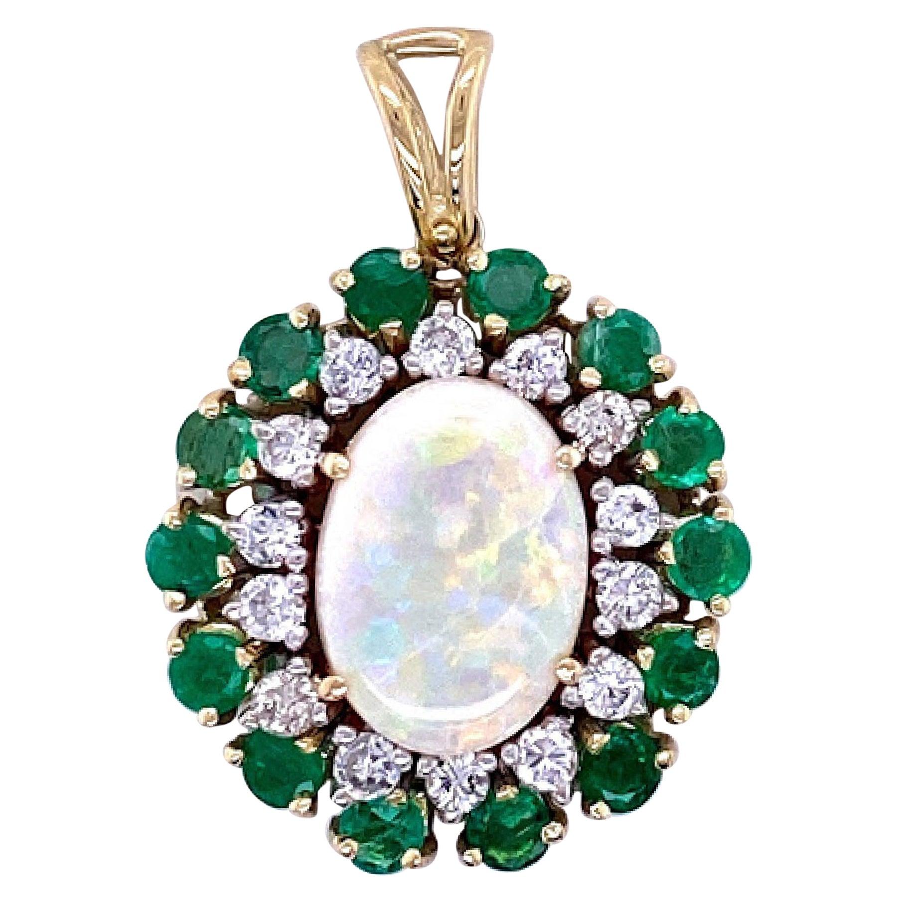 Opal, Emerald, and Diamond Pendant