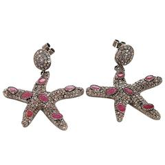 Beautiful Sterling Silver, Diamond, and Ruby Earrings