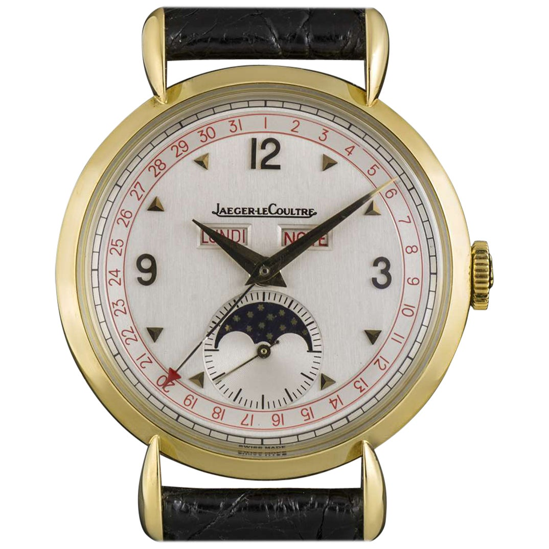 Jaeger-LeCoultre Triple Date Moonphase Vintage Gents 18k Yellow Gold Silver Dial
