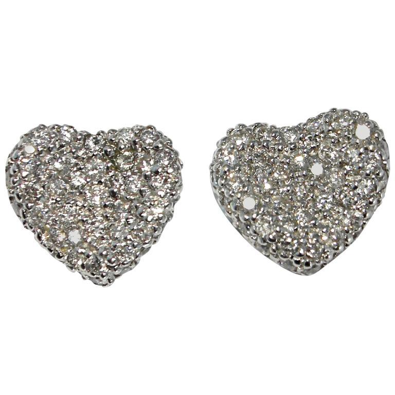 Jona Diamond Pavé 18 Karat White Gold Heart Earrings