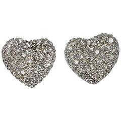 Jona Diamond Pavé 18 Karat White Gold Heart Earrings